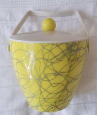 Vintage Retro 1950's Yellow & Grey Plastic Ice Bucket Made In Australia