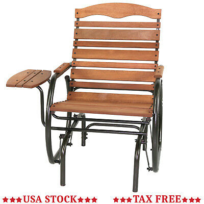 Outdoor Wood Porch Glider Rocking Chair Rocker Armchair Swing Deck with Table