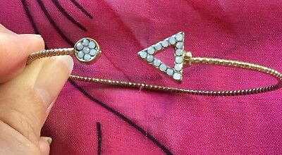 Vintage Antique Gold Crystal Triangle Bangle Boho Bracelet Estate Find Vtg Retro