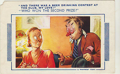 Beer Drinking Contest Bamforth Comic Postcard Number 400