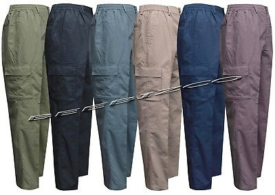 New Mens Elasticated Waist Rugby Trousers Cargo Combat M - 3XL