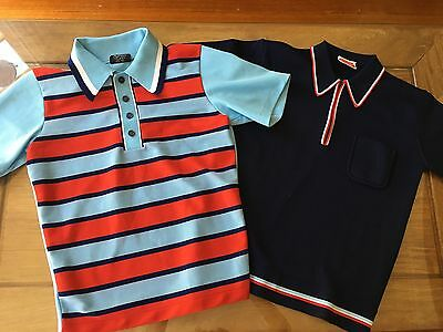Vintage Retro 2 X POLO SHIRTS Short SLEEVES Polyester MOD Hipster ROCKABILLY