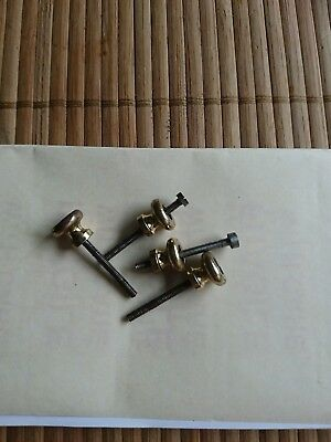 Antique carriage clock Parts small bun feet spares brass with fixing screws/bolt