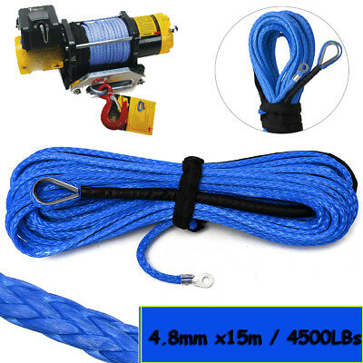 5mm x15m Synthetic Winch Rope Line Cable 4500LBs With Sheath SUV ATV Vehicle