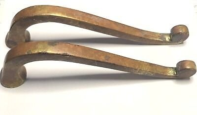 Matching Pair Vintage Solid Brass Entry Door Pull Handles Architectural Hardware