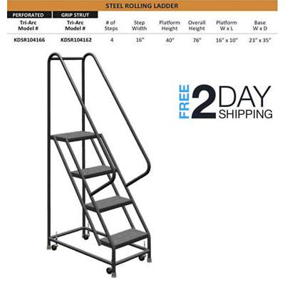 Rolling Step Ladders w/ Guardrail Work Shop 4 Step Ladder Retail Platform System