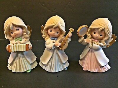 """3 Xmas Angel Figurines w/Musical Instruments 4 1/2"""" Porcelain Mat Homco #5504"""