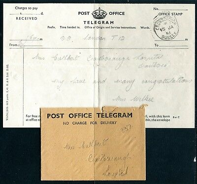 UK Telegram with cover from Crowborough 15JAN46