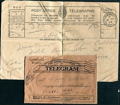 UK Telegram with cover from Sth Kensington 12NOV28
