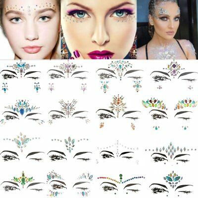Adhesive Gems Face Rhinestone Jewels Festival Party Body Glitter Stickers FK
