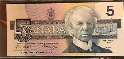 1986 Canada 5 Five Dollar Canadian Bill Uncirculated Banknote- Exceptional