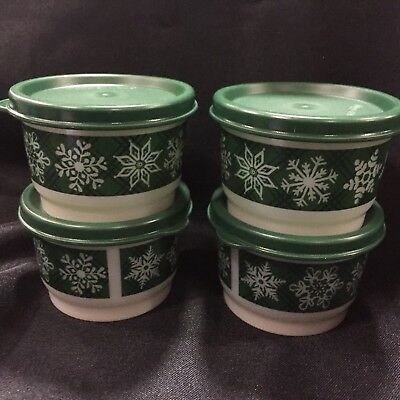NEW Tupperware GREEN 4 piece Set  Snack Cups SO PRETTY ❄️ snowflakes Holiday