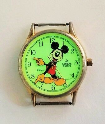 Mickey Mouse Wrist Watch Rare Yellow Glove Straight On Face Glow in Dark