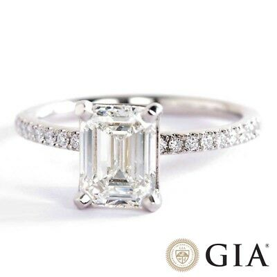 7883468e7784e7 1.20 Carats Emerald Cut GIA Certified Diamond Pave Engagement Ring In  Platinum