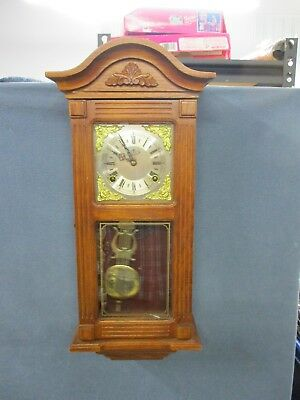 Older DEA Chiming Wood Wall Clock-Key Wind-Lyre Pendulum FAST SHIPPING!
