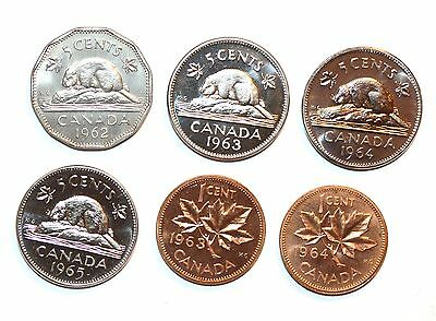 1962 - 1965 CANADA coins five one cents animal beaver lot BU CHOICE UNCIRCULATED