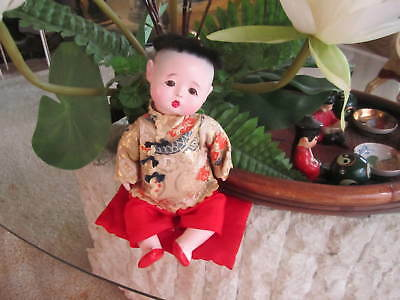 VTG Japan Jointed Porcelain China Doll Chinese Eyes & Hair,  10""