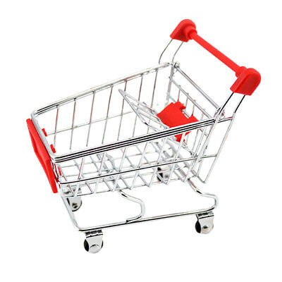 Mini Trolley Supermarket Shopping Cart Phone Holder Kids Pretend Toy Red
