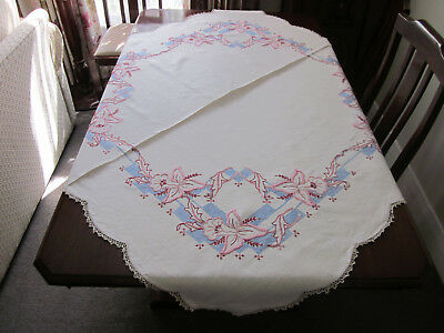 Large Pink Orchids Hand Embroidered Pure Linen Tablecloth