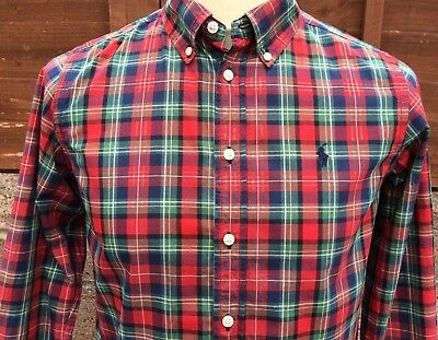 Ralph Lauren Polo Boy's Blue Green Red Tartan Button Down Casual Shirt L (14-16)