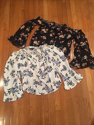 American Eagle Outfitters Womens Cold Shoulder Bell Sleeve Floral Top Lot Size L