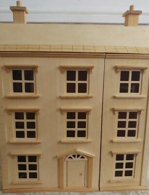 Georgian wooden (unpainted) 4 storey dolls house with furniture 71cm tall