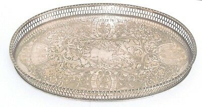 Quality Vintage Viners Of Sheffield Silver Plated Ornate Oval Gallery Tray