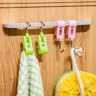 New Multifunction Steel Pipe 2 In 1 Plastic Clip Hook Laundry Drying Hanger Clip