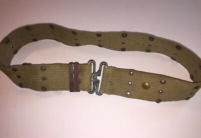 VINTAGE MILITARY Pistol Belt KHAKI With METAL Fastener
