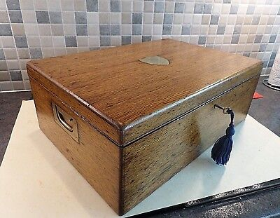 Victorian Solid Oak Collectors Chest/ Box- 2 Lift Out Trays- Handles- Lock & Key