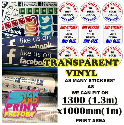 CUSTOM VINYL STICKERS Labels Printed & Cut Any Shape Any Size TRANSPARENT  VINYL