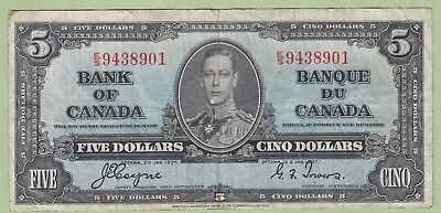 1937 Bank of Canada 5 Dollar Note - Coyne/Towers - E/S9438901 - Fine