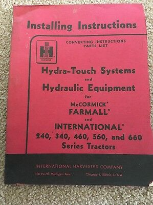 McCormick Farmall Hydra Touch And Hydraulic Equipment Installing Instructions