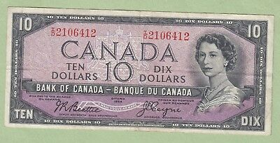 1954 Bank of Canada 10 Dollar Note Devil's Face- Beattie/Coyne - I/D2106412 - VF