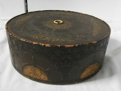 Vintage Hat Box ~ Art Deco Nouveau Embossed ~ 10-Inch Round Foil Lined