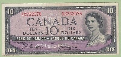1954 Bank of Canada 10 Dollar Note Devil's Face- Beattie/Coyne - G/D2252578 - VF