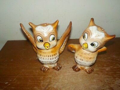 Vintage 1950's Kreiss & Co Ceramics Brown Owls Salt & Pepper Shakers Set
