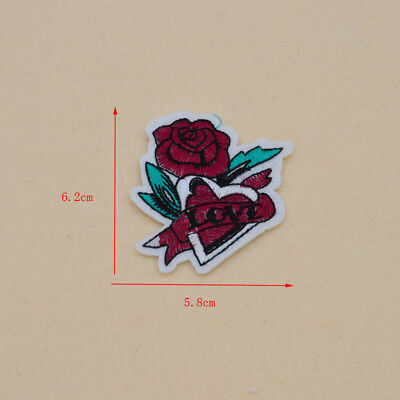 Embroidered Sew Iron on Patch Badge Rose Flower Bag Hat Dress Applique clothes 2