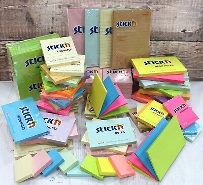 Stick'n Sticky Notes Memo Pad Jot It Down in 60 Colour & Size Choice Multi Packs