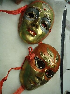Vintage Solid Brass Art Theatrical hand painted face masks