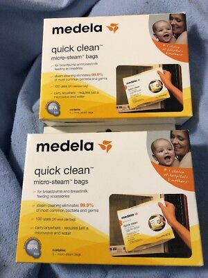 New Lot Of 2 Medela Quick Clean 5 Micro-Steam Bags Microwave Sterilize Boxes