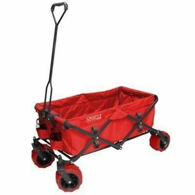 RED Folding all Terrain Trolley Wheeled Festival Beach Carry Cart