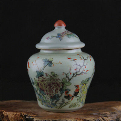 """Chinese Qing dynasty""""TongZhi""""powder color porcelain flower bird tea caddy"""