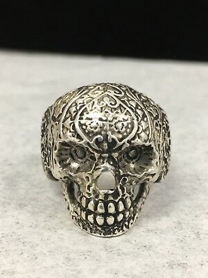 Men's Solid Silver 925 Skull Ring Antique Finished Sz 10/ Biker Jewelry Art NEW