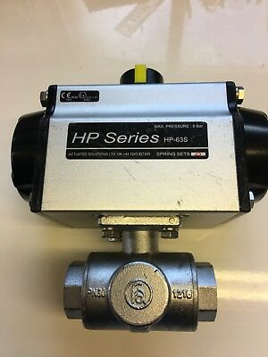 "Pneumatic Actuated  3 Way Ball Valve 1"" Stainless Steel"