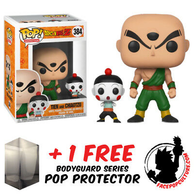 Funko Pop Dragon Ball Z Tien And Chiaotzu Vinyl Figure + Pop Protector