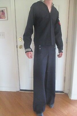 Vtg US NAVY Sailor WWll UNIFORM w/Patches USS PASSUMPSIC Cracker Jack