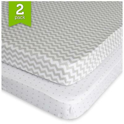 Pack N Play Playard Sheet Set 2 Pack Fitted Jersey Knit Cotton Portable Mini Dot