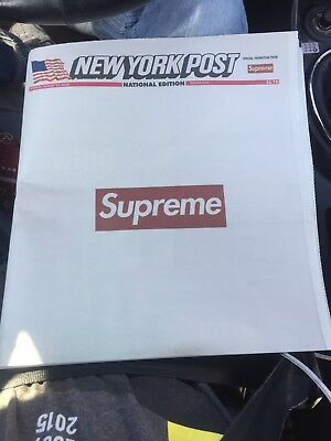 Supreme New York Post Newspaper FW18 August 13, 2018 Front page of Newspaper