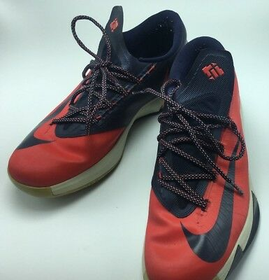 c3f3a111f6b0 Nike KD 6 VI DC Mens Crimson Obsidian White Blue Basketball Shoes Red US  Size 12